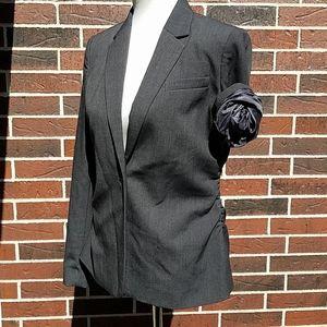 Calvin Klein Dark Gray Blazer Ruching Waist
